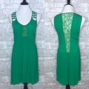 Miss Me green side zipper lace back dress